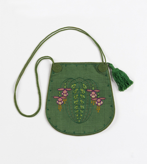 U-shaped drawstring purse in green, with a stylized design of fuchsias in two greens, violet, two pinks, yellow and white. Long green cord with tassel.
