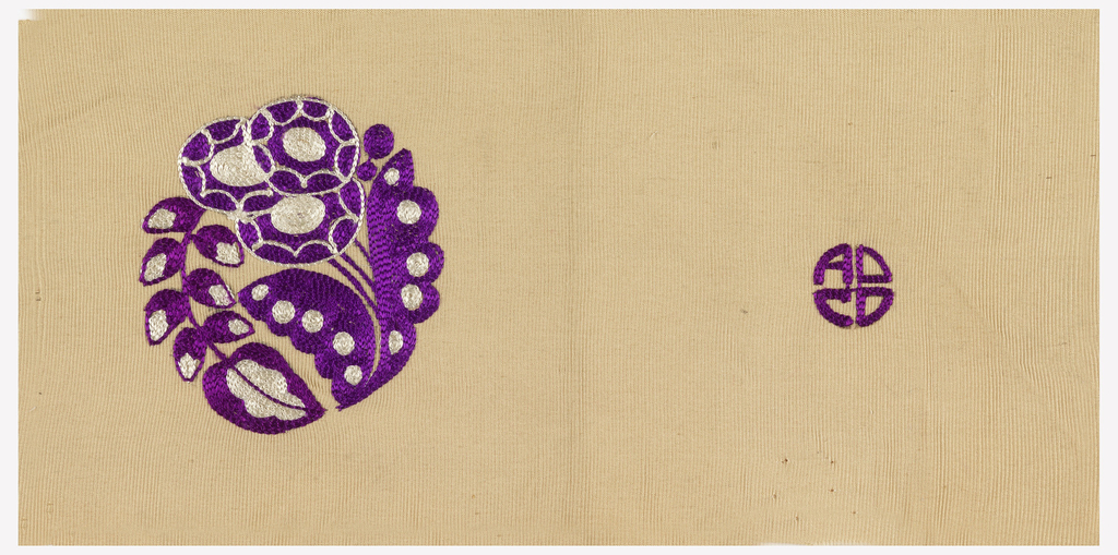 Sample for upholstery with stylized flowers and leaves designed in a circle in purple and white on beige.