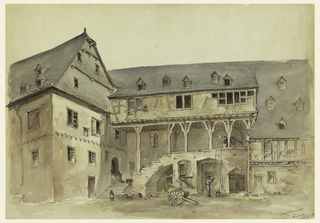 Drawing, Courtyard of a Medieval Manor