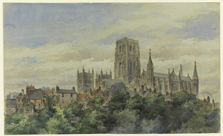 View over the treetops of Durham Cathedral, as seen from the southeast, and showing surrounding houses.