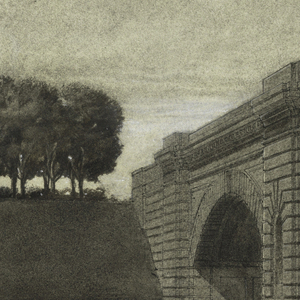 View of a stone bridge from angled perspective. Trees on left.