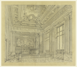 View of court room with embellishments, molding, ceiling decoration, fluted Corinthian pilasters. The room is sectioned into two areas, divided by a railing. Marble dados and flooring. Back wall decorated with a faint painting of a woman and other figures.