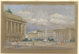 View of two buildings in Neoclassical style with fountain in middle ground; people strolling in open space in front of the two buildings.