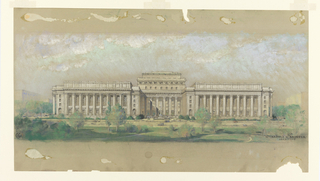 Elevation of grand public building in classical style with recessed central core with two wings, all fronted by a colonnaded loggia.  Slight indication of attic story throughout, and a greenspace in the foreground. A fountain in the lawn in front of central section.