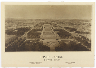 Photograph of drawing illustrating birds-eye view of downtown Denver, Colorado.