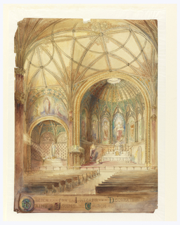 Drawing, Rendering of Interior, St. John's Church, Utica, NY