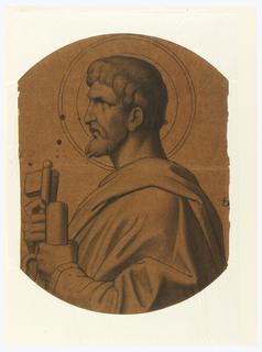 Drawing, St. Peter, Study for Ceiling, Saint John the Baptist Church, Brooklyn, NY