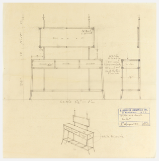 Elevation and side view of buffet; perspectival view below. Scale.