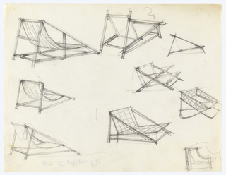 9 designs and sketches for low beach/lawn chairs.