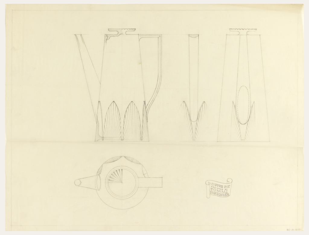 Design for coffee pot in plan and elevation views.