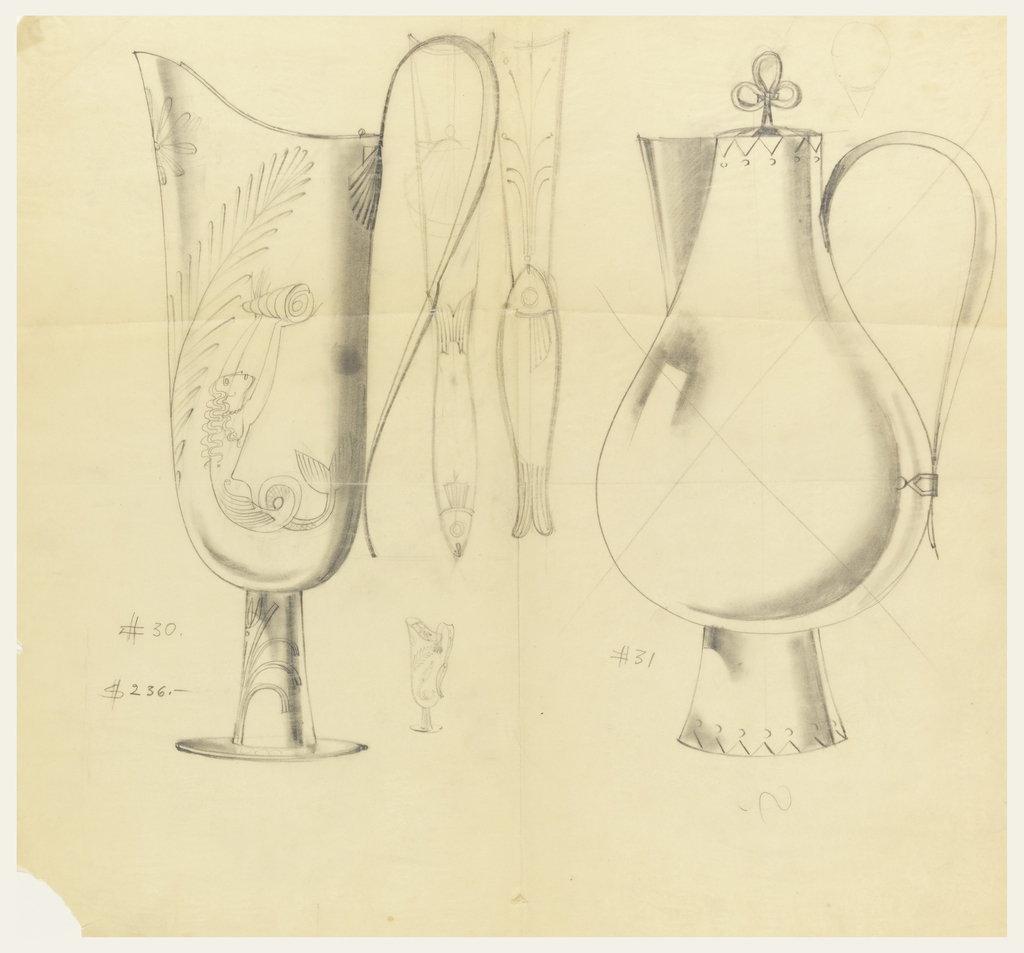2 designs for pitchers. Left pitcher with a mermaid holding a shell. In between the pitchers is a smaller pitcher and two flutes in shape of fish.
