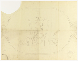 Design for coffee set in elevation view with floral motif on a tray in plan view.