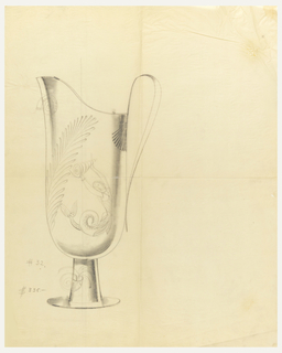Design for pitcher with fern and mermaid.