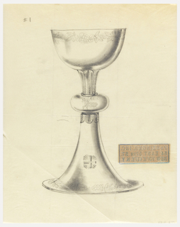 Presentation design for silver chalice with small cup and larger base; at stem center, Lamb of God holding banner on pole; grape leaves and grapes around rims of base and cup.