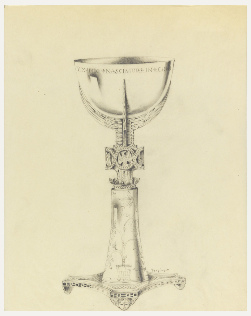 Presentation design for chalice on scallop-shaped base, a winged angle face on each foot; Tree of Life on lower stem; animal symbols for four Evangelists middle of base; Latin text along cup rim: EX DEO NASCIMUR IN CHRI...