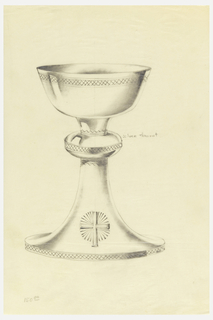 Presentation design for plain silver chalice with wide shallow cup; decorative motifs of cross hatching on rim of cup; cushion at middle of stem and on base rim; a cross and gloriole on base.