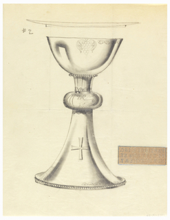 Presentation design for silver chalice with shallow wide cup and larger base; above, elevation of dish; engraved bunch of grapes and half scallops along cup rim; Greek cross on base; Lamb of God center cushion of stem.