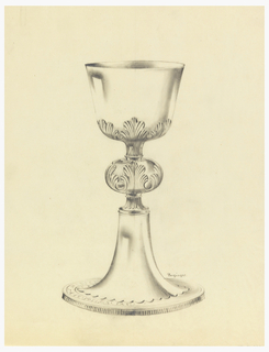 "Presentation design for silver chalice with applied acanthus leaves under and on ""cushion"" middle of stem; scallops at stem base; vertical engraved decorative lines on side of base; Latin inscription around base: DEO NASC...."