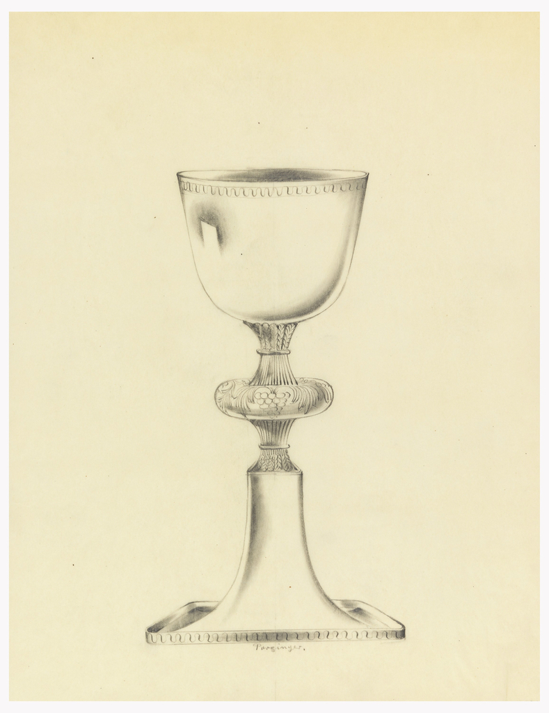 Presentation design for silver chalice with square base and engraved motifs of wavy lines on edge of cup and rim of base; grape and leaf motifs in cushion, center of stem.