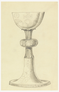 Presentation design for silver chalice with Greek cross, symmetrical fish, and stylized radiating sun; four animal symbols for Evangelists in cushion, center of stem; cut-off view of grapes and on stem; Latin inscription engraved around base rim.