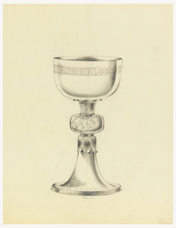 Presentation design for silver chalice with cup and base of same diameter; round flat cushion-shaped piece with basket weave motif at upper stem; at top and bottom of cushion, motif of bound leaves;  Latin inscription just below cup rim: EX DEO NA..., on cross-hatched background, and illegible Latin inscription around base.
