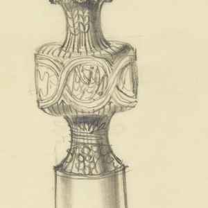 Presentation design for silver stemmed chalice with scalloped base; crescents support cup bowl; animal symbols of four Evangelists at center of stem; Latin text around cup rim:  EX DEO NASCIM..., and below center of lower-stem: IN CHRI....