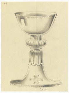 "Presentation design for silver chalice with wide shallow cup and wider base; flat circular pillow-shaped piece upper stem; engraved scallops along cup rim; Greek cross below ""pillow;"" irregular outline middle of stem."