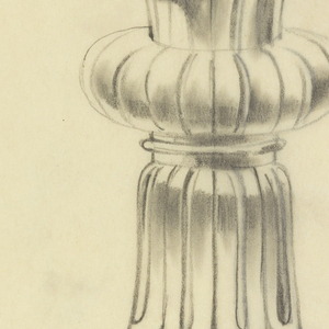 """Presentation design for silver chalice with wide shallow cup and wider base; flat circular pillow-shaped piece upper stem; engraved scallops along cup rim; Greek cross below """"pillow;"""" irregular outline middle of stem."""