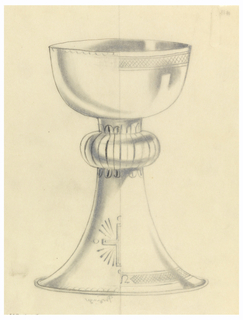 Presentation design for silver chalice with wide shallow cup; on cup and base alternate design motifs at left and right of vertical center fold: left half, horizontal bands of cross-hatching on cup and base; right half of cup and base, horizontal line of scallops and half a Greek cross at bottom of flared stem.