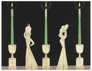 On black ground, three identical candlesticks with tall green tapers, two standing female figures: figure on the left holds a water or wine jug on her shoulder; figure on the right holds a tray of fruits above her head.