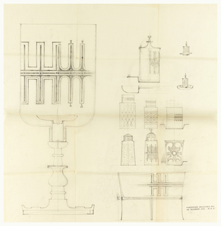 11 designs to-scale designs for cylindrical objects, such as salt shakers, candelabra, a bowl.