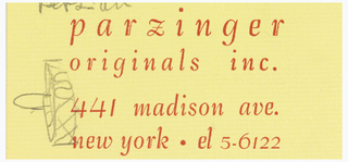 "Yellow ""parzinger originals inc."" business card with designs of glass, pitcher, and caster."