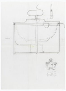 Design for casserole dish. Small chafing dish in lower right corner.