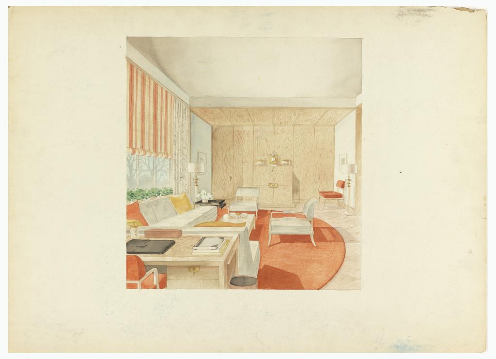 Drawing, Living Room/Den Interior
