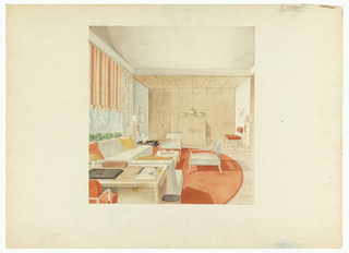 Rendering of a living room/den in tones of orange, beige and white. Wood walls with matching armchair at far end of the room. White upholstered sofas and chairs set on round, orange rug with a geometric pattern. Desk and chair in left foreground, orange and white- striped shade at window, two standing lamps with geometric detailing at neck.  In alcove in back, wood paneled doors hide closets, cabinet in same wood with wood paneled ceiling.
