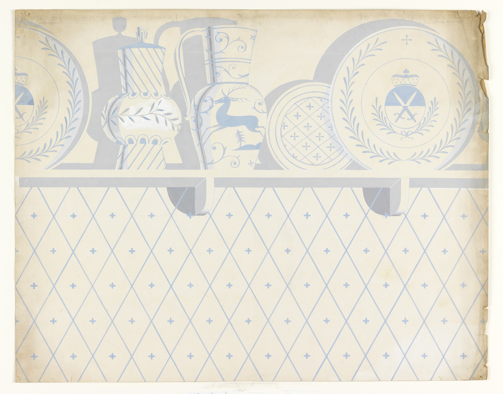 Wallpaper design featuring a shelf displaying various types of china, including plates and pitchers, in light blue, grey, and cream. The shelf is positioned above a light blue diamond pattern formed by diagonal hatching. A small four-pointed, cross-like form appears in the center of each diamond.