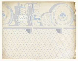 Possibly for a kitchen or dining room, a shelf displaying china is located above a diagonal-shaped pattern with - / + motif at each center. Design is rendered in shades of blue and gray against a cream background.