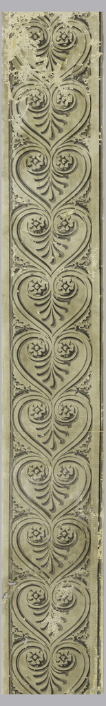Grisaille palmette motif, surrounded by heart-shape.