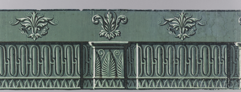 Horizontal rectangle consisting of four pieces of paper. Green and white, with outlines in burnt umber. Along bottom, interlacing lines forming ellipses; pedestal shape in center. Above, three symmetrical groups of leaves on striped ground.