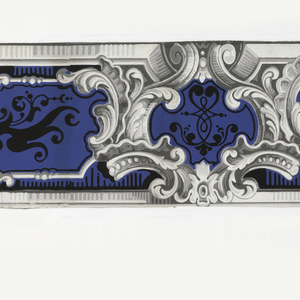 Grisaille rococo scrollwork with leaf forms, enclosing medallions. The latter are embellished with black strapwork scrolls and leaf forms on blue ground. (Probably clipped on one side or both. Were probably two or more lengths to a width originally). Printed on blue ground.