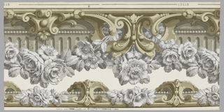 "A border and chair rail on one width. To be cut out. Both have rococo scrollwork with architectural moldings, embellished with roses. Both sets have brown scrollwork, gray molding. ""a"" has white roses with gray shading,""b"" has dark red roses. Printed on white ground."