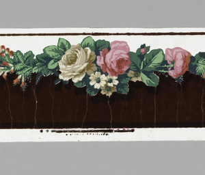 Horizontal rectangle. Cluster of pink roses alternating horizontally with cluster of pink and white roses and white daisies. Green leaves. Ground at top is white, glazed. Below the flower band the field is dark red flock.