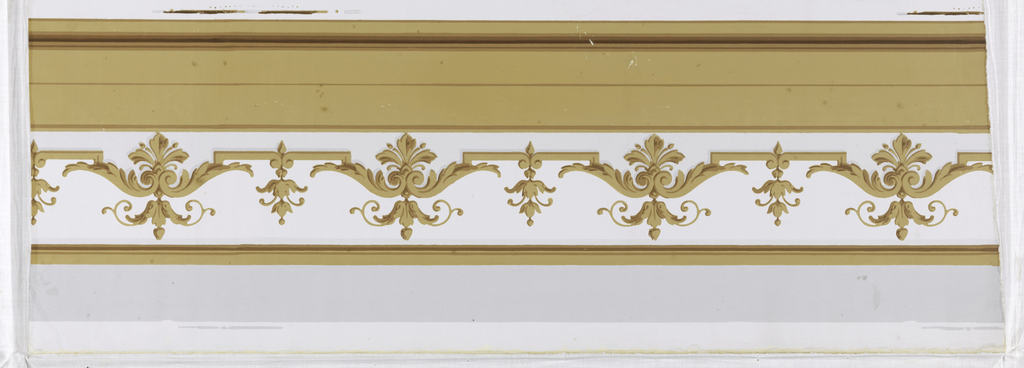 Wallpaper length having two widths of border to be cut out. The border is meant to serve as a baseboard or chairrail connecting with the base of the pilaster. It has conventionalized brown leaf and bud forms of two sizes in alternating horizontal series. Brown molding strips along top and bottom. Gray bands; printed on off-white ground.
