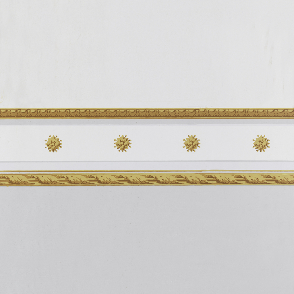 Yellowish-brown horizontal molding strip, top and bottom, with a series of yellowish-brown rosettes at spaced intervals along the band between. Printed on off-white ground.