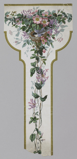 "Top part of what was apparently a wallpaper ""pillar"": vertical strip curving out at top, capping the ""pillar"". Outlined in gold beading, vertical banding of honeysuckle, topped by bird on nest, surrounded by flowers. On white ground."