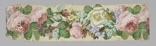 Continuously entwined pink and white roses, foliage, blue flowers. Cut out along pattern outline.