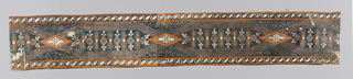 "The top and bottom bands edging the design consist of lozenge-and-reverse-""S"" pattern. These border the center of the strip which contains geometric shapes formed by six-line ribbon stripes criss-crossing at diamond-shaped motif. Geometric shape encloses row of stylized flowers and leaves. Diamond shape encloses daisy-like flower. Printed in orange, white, gray and deep turquoise on black ground.