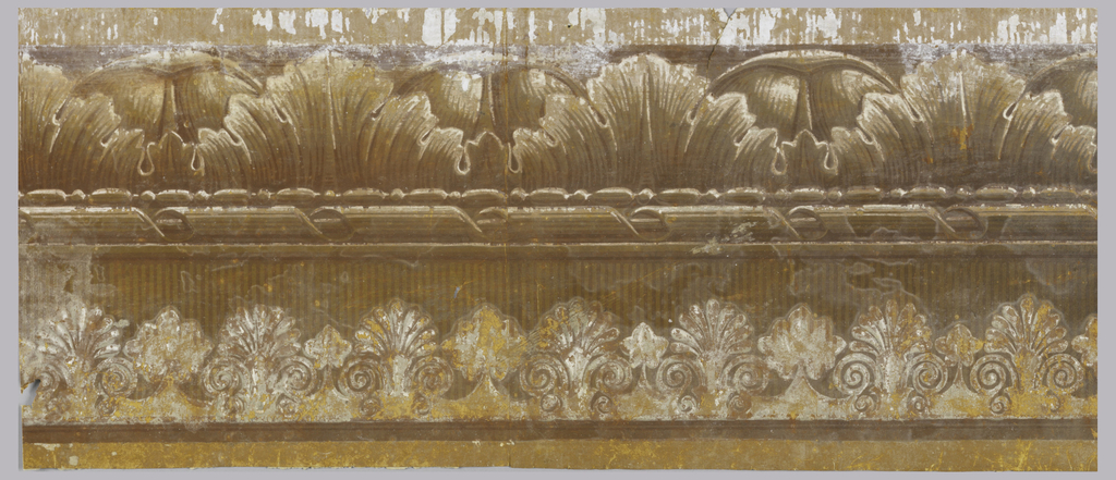 Border containing anthemions, acanthus, dentils, bead and reel and wrapped cable motifs. Printed in brown, grey and ochre.  H#384