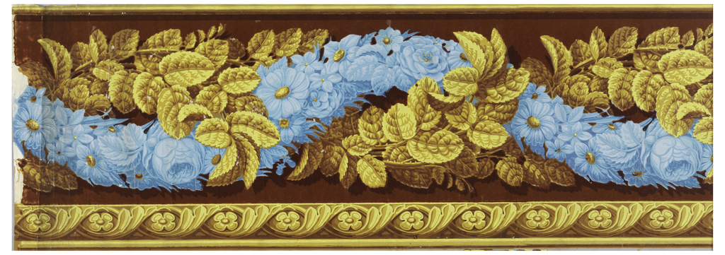 Two bands of designs: a wide giulloche of two-garlands, one of assorted flowers and the other of rose leaves. Bottom edging combines quatrefoils with giulloche foliage.  H#221