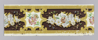 Between striped edgings, the wide central band contains flowers enframed by cartouches which are separated by garlands of flowers. Each cartouche has eight points alternating between palmettes and rosettes/acanthus leaves. The background is flocked; printed in yellow, gold, green, blue, red, pink and a purple flocked background.